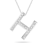 0.25-0.33 Cts  SI2 - I1 clarity and I-J color Diamond H Initial Pendant in 14K White Gold