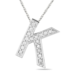 1/4 Cts Diamond K Initial Pendant in 14K White Gold