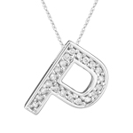 0.26 Cts Diamond P Initial Pendant in 14K White Gold