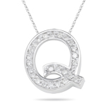 0.20-0.25 Cts  SI2 - I1 clarity and I-J color Diamond Q Initial Pendant in 14K White Gold