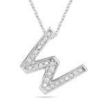 1/4 Cts Diamond W Initial Pendant in 14K White Gold