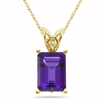 2.37-2.95 Cts of 10x8 mm AAA Emerald-Cut Amethyst Scroll Solitaire Pendant in 14K Yellow Gold