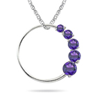 0.40 Cts Amethyst Journey Circle Pendant in 14K White Gold