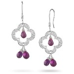 4.00 Cts Amethyst Clover Dangling Earrings in Sterling Silver
