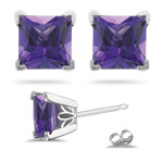 0.55 Cts of 4 mm AAA Princess Amethyst Scroll Earrings in Platinum