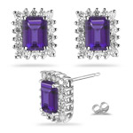 1.08 Cts Diamond & 6.55 Cts of 11x9 mm AAA Emerald Amethyst Cluster Earrings in Platinum
