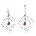 Amethyst Briolette Double-Wire Kite-Shaped Earrings in Sterling Silver