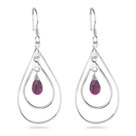 Amethyst Briolette Double-Wire Drop-Shaped Earrings in Sterling Silver