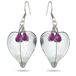 2.65 Cts Amethyst Briolette Earrings in Sterling Silver - Christmas Sale