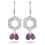2.65 Cts Amethyst Dangling Earrings in Sterling Silver