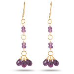 5.40+ Cts Amethyst Briolette Earrings in 18K Yellow Gold - Christmas Sale