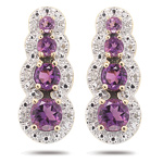 0.08 Cts Diamond & AA Round Amethyst Earrings in 14K Yellow Gold