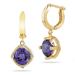 0.04 Ct Diamond & 3.59 Cts Amethyst Dangle Earrings in 14K Yellow Gold