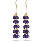 35.00+ Cts Amethyst Grapevine Earrings in 18K Yellow Gold - Christmas Sale