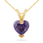 0.67 Cts of 6 mm AAA Heart Amethyst Pendant in 14K Gold
