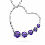0.40 Cts AA Round Amethyst Journey Heart Pendant in 14K White Gold