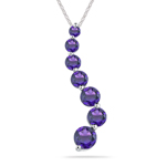 1.00 Ct AA Round Amethyst Journey Pendant in 14K White Gold