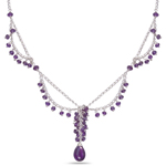 14.30 Cts Amethyst Necklace in Sterling Silver