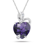 0.02 Ct Diamond & 2.25-3.35 Cts Amethyst Heart Pendant in 14K White Gold