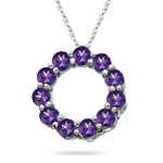 1.77 Cts Amethyst Circle Pendant in 14K White Gold