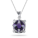 0.02 Ct Diamond & 2.37 Cts Amethyst Pendant in 14K White Gold