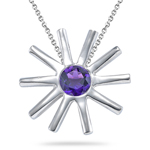0.20 Cts of 4 mm AA Round Amethyst Solitaire Pendant in Silver