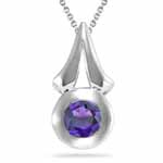 0.60 Ct 5 mm AA Round Amethyst Solitaire Circle-Drop Pendant in Silver