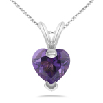 1.34 Cts of 6 mm AA Heart Amethyst Solitaire Pendant in 14K White Gold