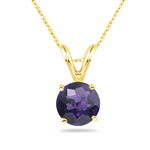 3.00 Cts of 10 mm AAA Round Amethyst Solitaire Pendant in 14K Yellow Gold