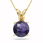 0.40 Cts of 5 mm AAA Round Checker Board Amethyst Scroll Pendant in 14K Yellow Gold