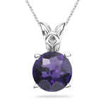 1.05-1.25 Cts of 7 mm AAA Round Checker Board Amethyst Scroll Pendant in Platinum