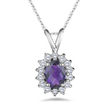 0.28 Cts Diamond & 1.12 Cts Amethyst Pendant in 18K White Gold