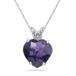 1.85-2.30 Cts of 9 mm AAA Heart Amethyst Scroll Pendant in 14K White Gold