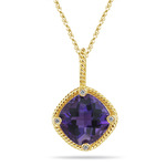 0.02 Ct Diamond & 3.64 Cts Amethyst Pendant in 14K Yellow Gold