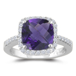 0.33 Cts Diamond & 2.05 Cts Amethyst Ring in 14K White Gold