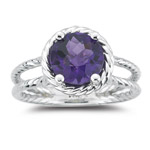 1.55-1.97 Ct 8mm AAA Round Checker Board Amethyst Solitaire Twin-Shank Ring-14K White Gold