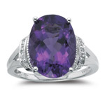Amethyst Ring - 0.03 Ct Diamond & 5.51Cts Amethyst Ring in 14K White Gold