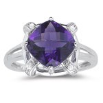 0.02 Ct Diamond & 2.55 Cts AAA Amethyst Ring in 14K White Gold