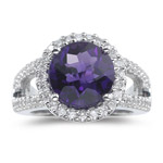 1/2 Ct Diamond & 3.30 Cts AAA Amethyst Ring in 14K White Gold