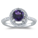 0.42 Ct Diamond & 1.06 Cts Amethyst Ring in 14K White Gold