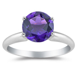 0.70 Ct 6 mm AAA Round Amethyst Solitaire Four-Prong Ring-14KW Gold