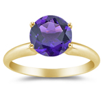 0.70 Cts of 6 mm AAA Round Amethyst Solitaire Ring in 14K Yellow Gold