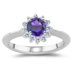 0.36 Cts Diamond & 1.60 Cts of 8 mm AAA Round Amethyst Cluster Ring in Platinum