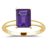 1.10 Cts of 8x6 mm AAA Emerald Amethyst Solitaire Ring in 14K Yellow Gold