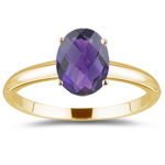 1.00 Ct of 8x6 mm AAA Oval Amethyst Solitaire Ring in 14K Yellow Gold