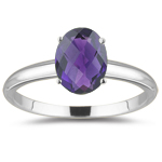 0.60 Cts of 7x5 mm AAA Oval Amethyst Solitaire Ring in 18K White Gold