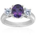 0.10 Cts Diamond & 4.65 Cts of 14x10 mm AAA Oval Amethyst Classic Three Stone Ring in Platinum