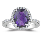 0.21 Cts Diamond & 0.60 Cts of 7x5 mm AAA Oval Amethyst Ring in 18K White Gold