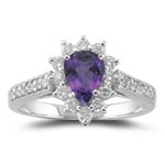 0.44 Ct Diamond & 0.65 Cts Amethyst Ring in 18K White Gold
