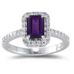 0.26 Ct Diamond & 1.00 Ct Amethyst Ring in 18K White Gold